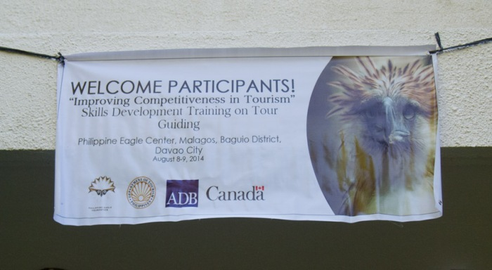 A tarpaulin welcoming the participants to the workshop.